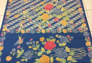 kain batik encim cap halus warna biru