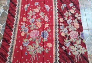 kain batik encim motif parang kombinasi bunga