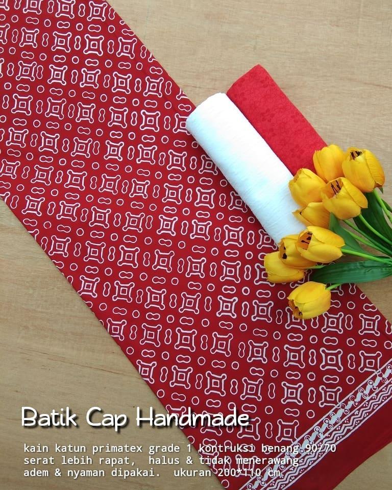 kain batik cap motoif garutan warna dasar merah kombinasi warna putih