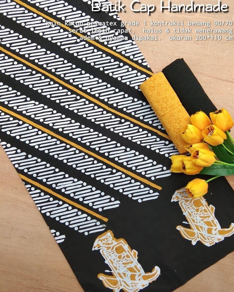 kain batik cap katun motif wayang halus