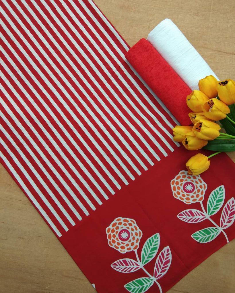 kain batik cap motif lurik kombinasi bunga warna merah