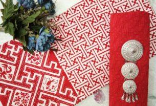 batik cap katun warna merah putih