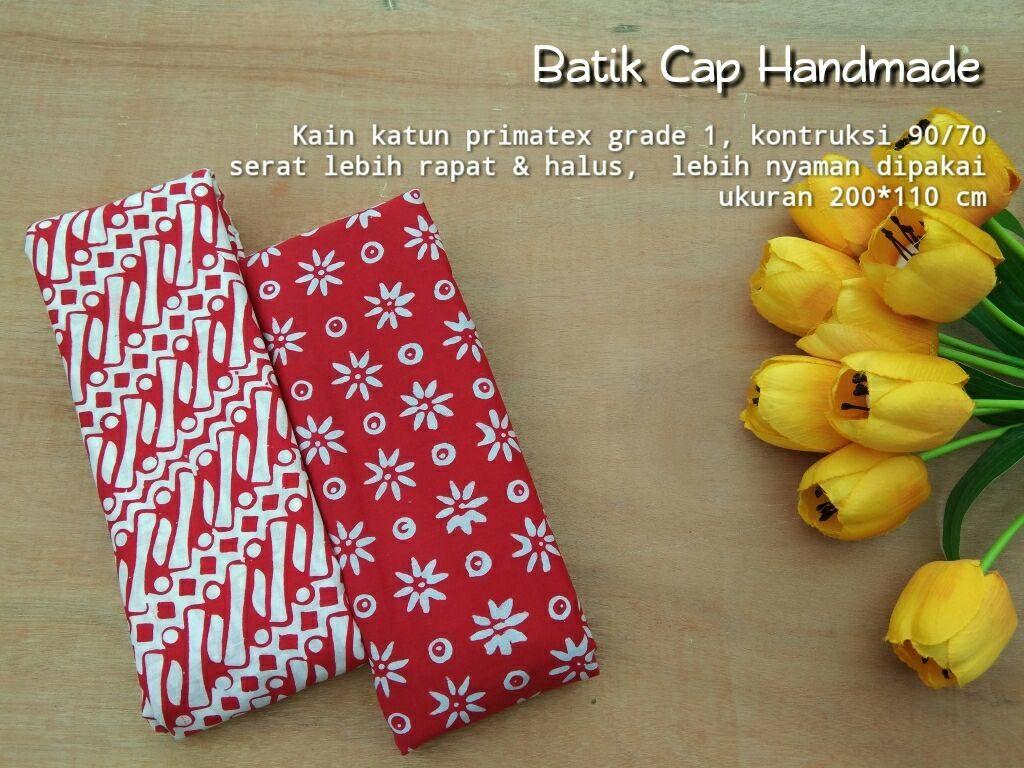 kain batik cap garutan warna merah motif truntum