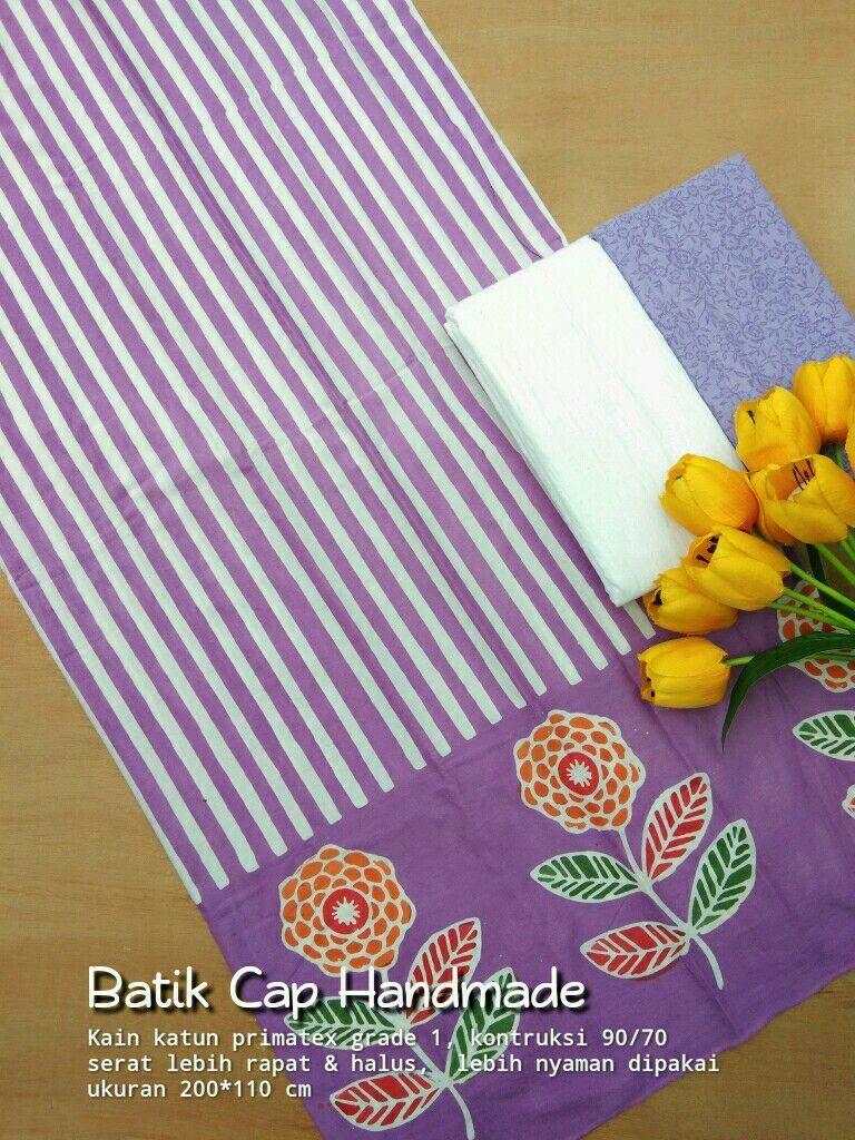kain batik cap motif lurik kombinasi warna ungu