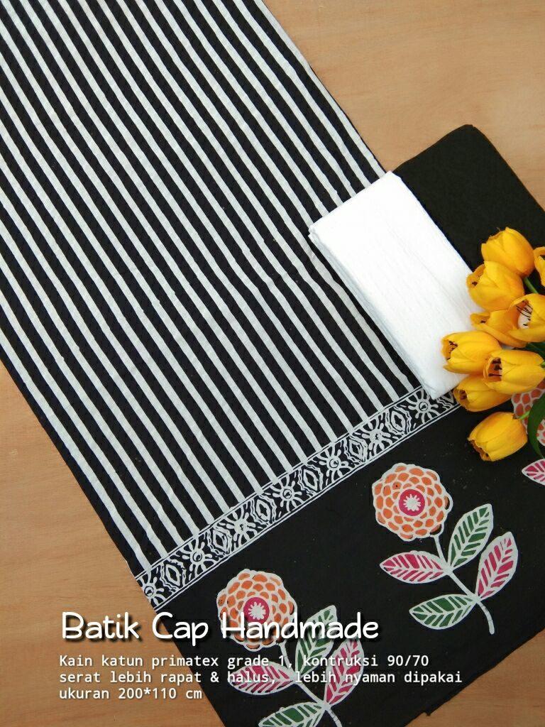 kain batik cap motif lurik kombinasi warna hitam