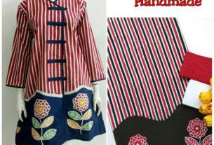 kain batik cap motif bunga kombinasi lurik