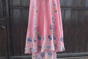 mukena batik halus batik cap warna pink
