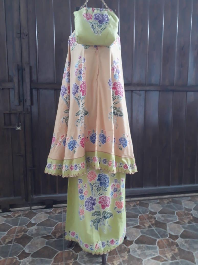 mukena batik cap motif encim kombinasi bordir warna coklat