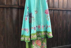 mukena batik cap halus warna hijau kombinasi
