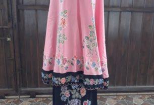mukena batik cap motif encim halus warna pink kombinasi hitam