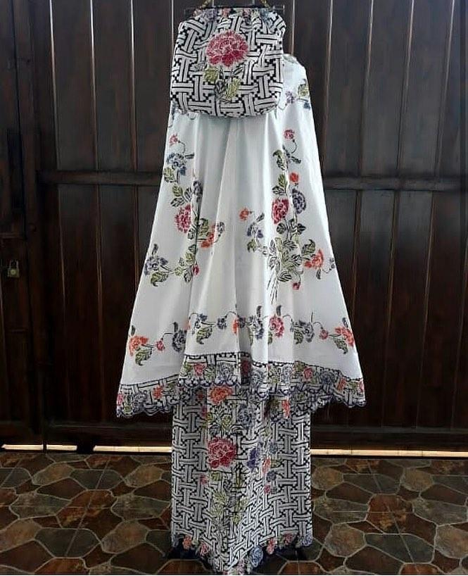 Mukena Batik Halus warna putih