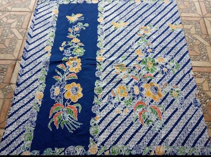 kain batik encim halus warna biru motif parang kombinasi