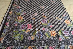 kain batik cap encim halus warna dasar hitam