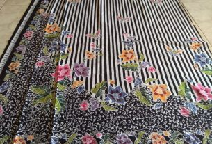 kain batik cap motif encim motif garis kombinasi bunga