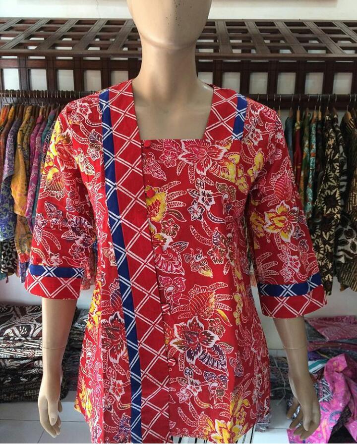 blouse batik cap wanita warna merah kombinasi