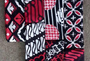kain batik cap warna merah hitam terbaru