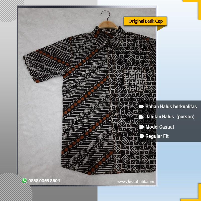 baju batik pria motif parang hitam